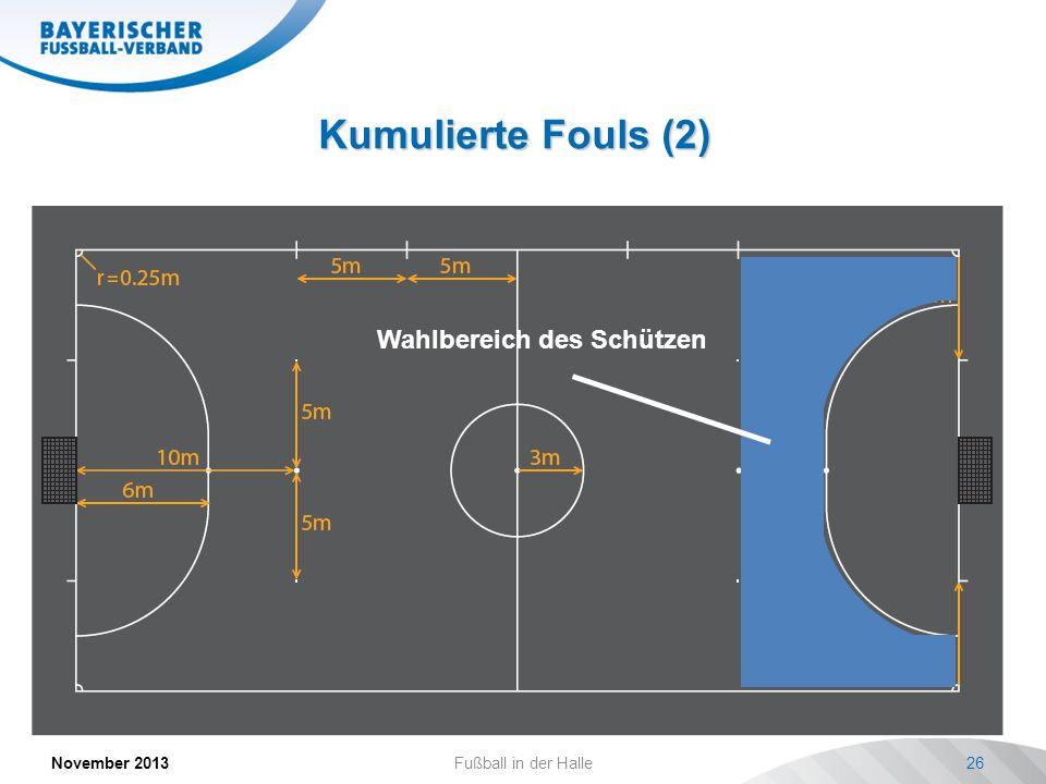 Kumulierte Fouls (2) November 2013Fußball in der Halle26 Statistische Erfolgsquote: ca. 50% Bei Foul hinter der 10-Meter Marke Freistoß von 10-Meter-M