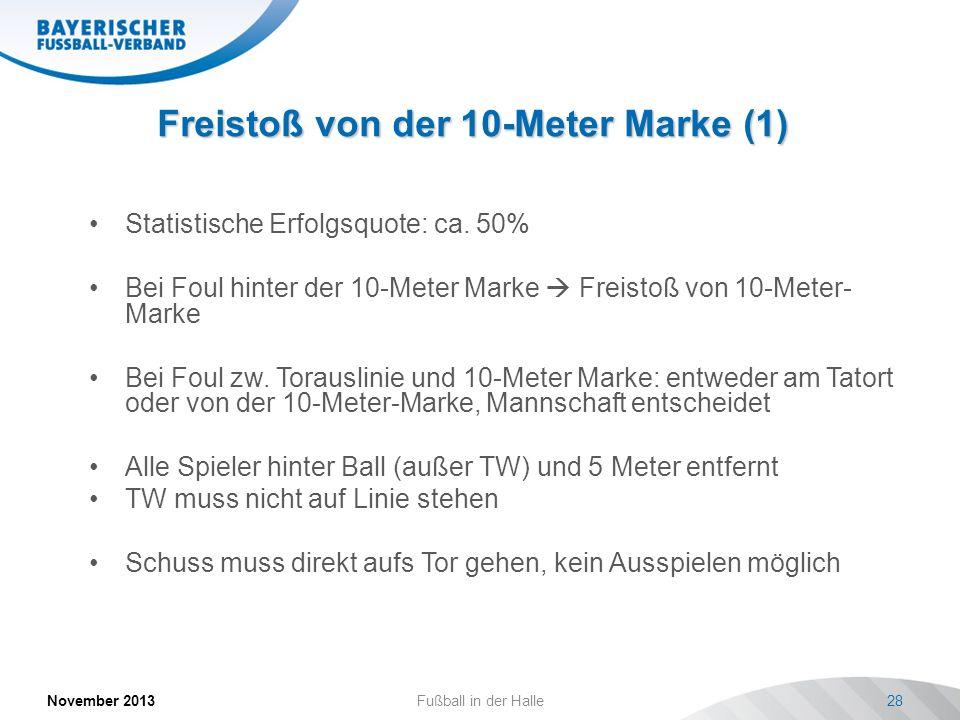 Freistoß von der 10-Meter Marke (1) November 2013Fußball in der Halle28 Statistische Erfolgsquote: ca. 50% Bei Foul hinter der 10-Meter Marke Freistoß