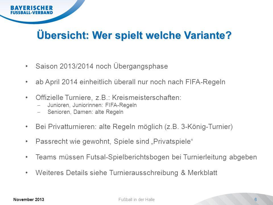 Übersicht: Wer spielt welche Variante? November 2013Fußball in der Halle6 Saison 2013/2014 noch Übergangsphase ab April 2014 einheitlich überall nur n