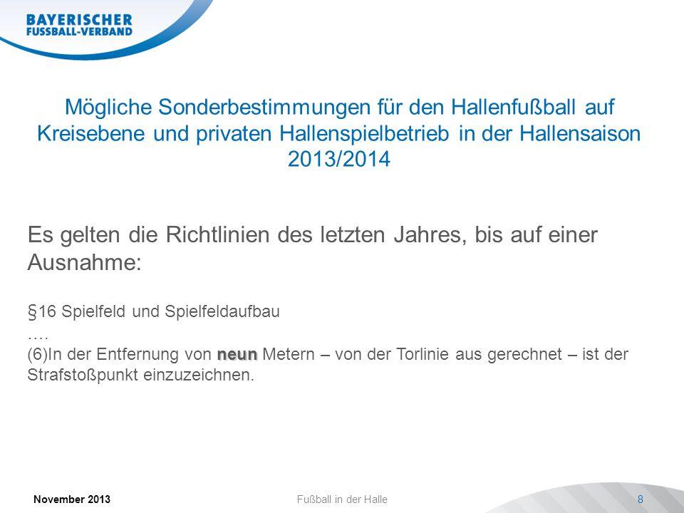 Mögliche Sonderbestimmungen für den Hallenfußball auf Kreisebene und privaten Hallenspielbetrieb in der Hallensaison 2013/2014 November 2013 Fußball i