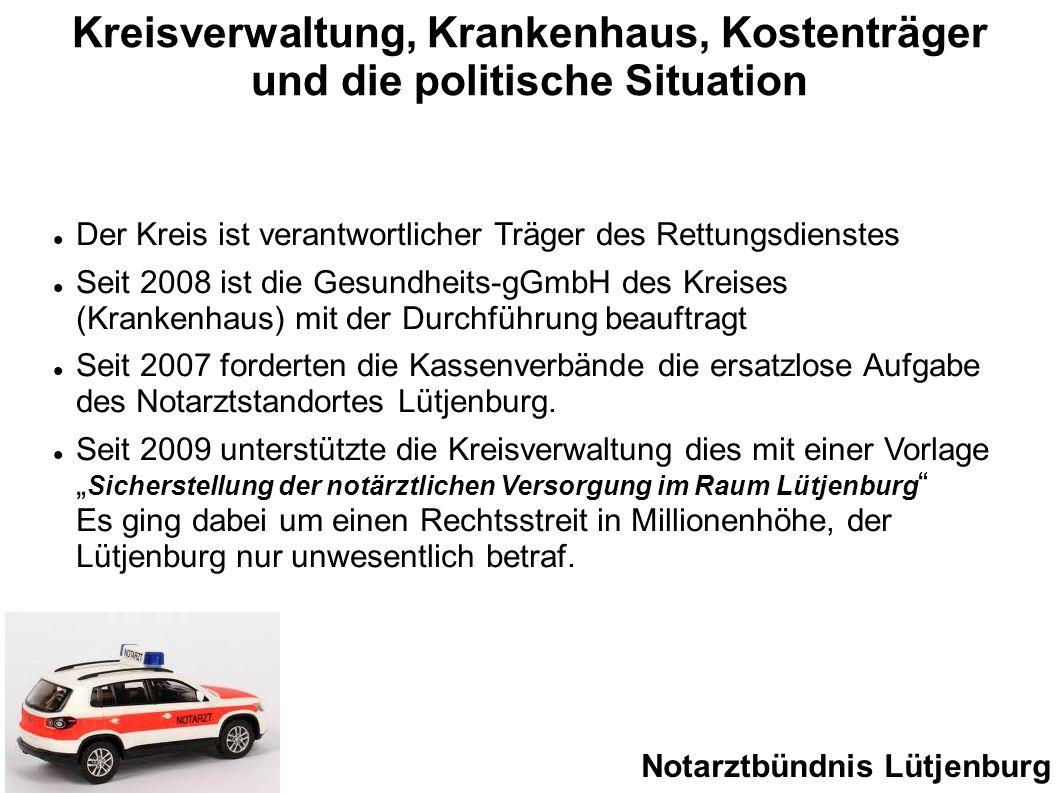 Kreisverwaltung, Krankenhaus, Kostenträger und die politische Situation Der Kreis ist verantwortlicher Träger des Rettungsdienstes Seit 2008 ist die G