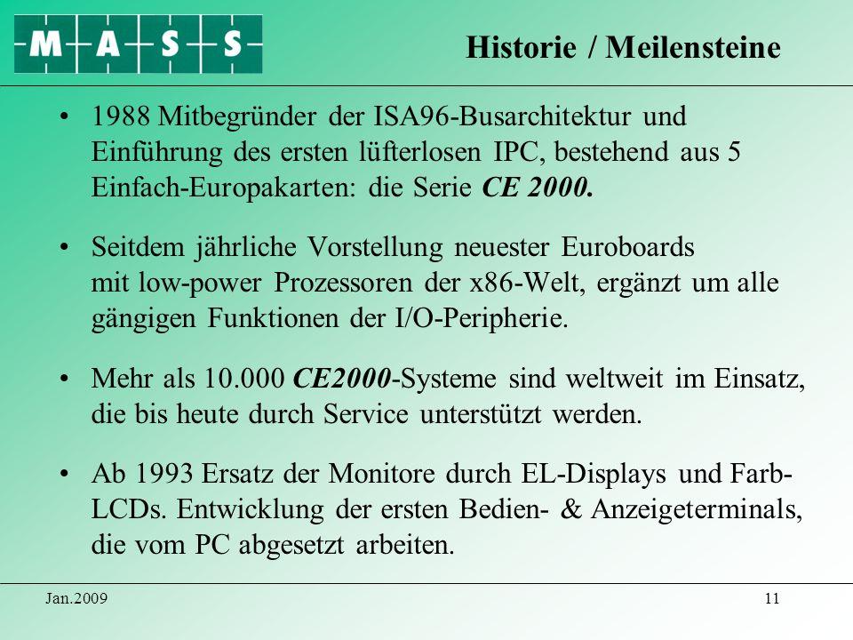 Jan.200911 1988 Mitbegründer der ISA96-Busarchitektur und Einführung des ersten lüfterlosen IPC, bestehend aus 5 Einfach-Europakarten: die Serie CE 20