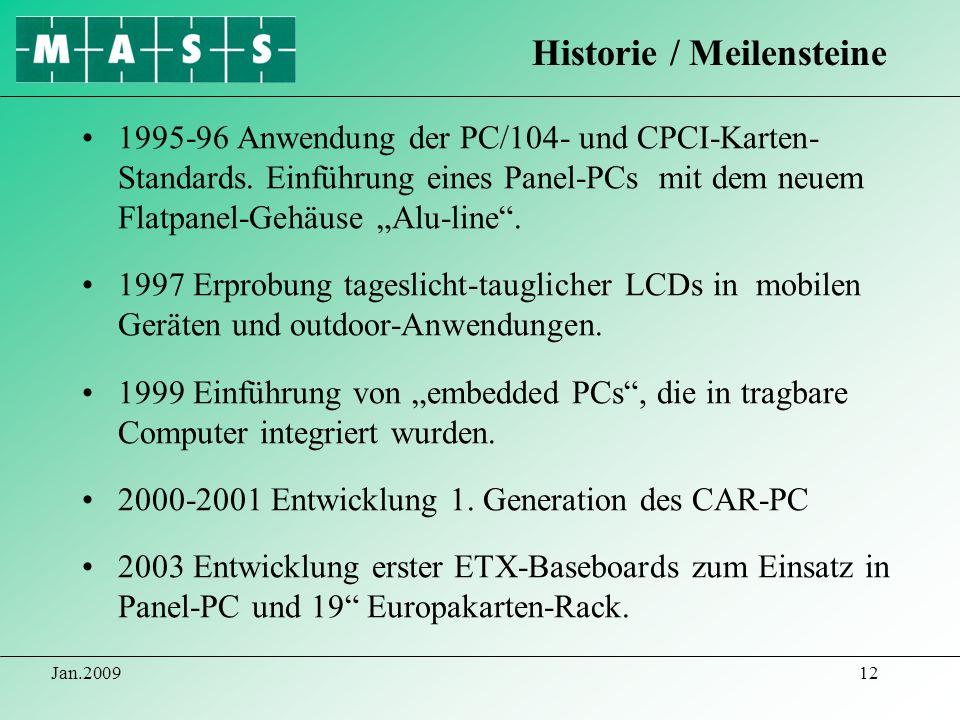 Jan.200912 1995-96 Anwendung der PC/104- und CPCI-Karten- Standards. Einführung eines Panel-PCs mit dem neuem Flatpanel-Gehäuse Alu-line. 1997 Erprobu