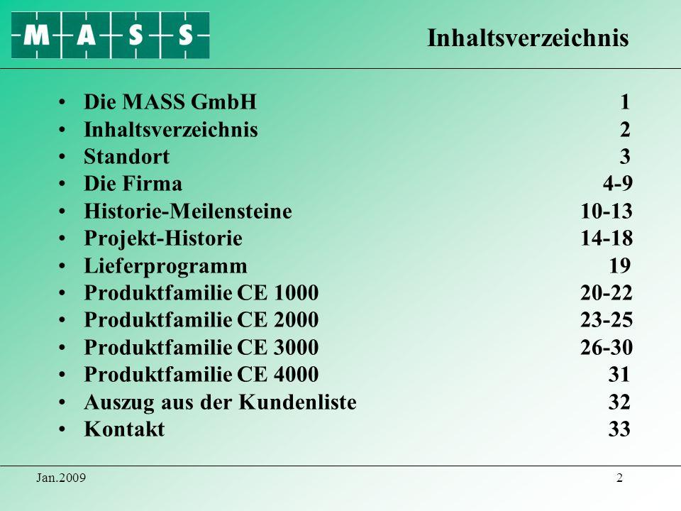 Jan.20092 Die MASS GmbH 1 Inhaltsverzeichnis 2 Standort 3 Die Firma 4-9 Historie-Meilensteine 10-13 Projekt-Historie 14-18 Lieferprogramm 19 Produktfa