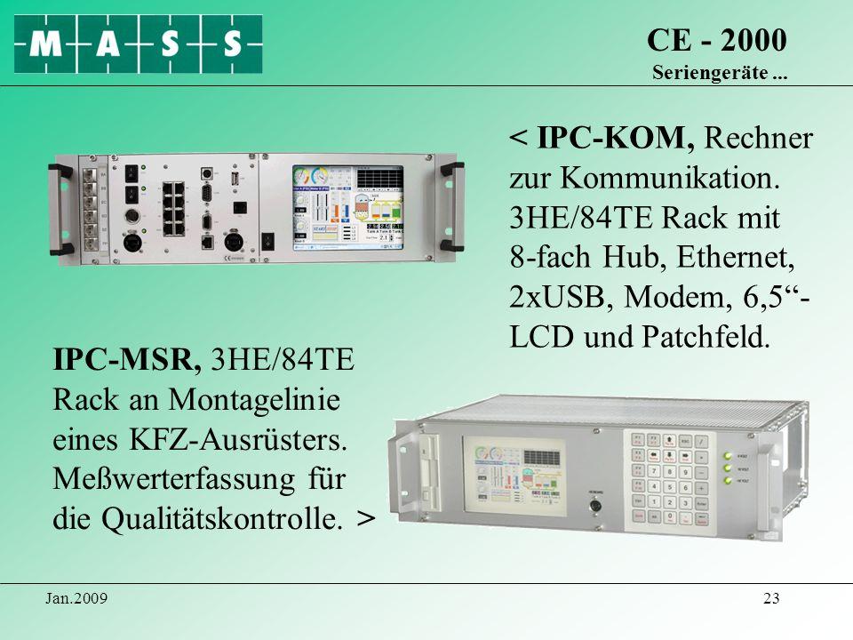 Jan.200923 CE - 2000 Seriengeräte... < IPC-KOM, Rechner zur Kommunikation. 3HE/84TE Rack mit 8-fach Hub, Ethernet, 2xUSB, Modem, 6,5- LCD und Patchfel