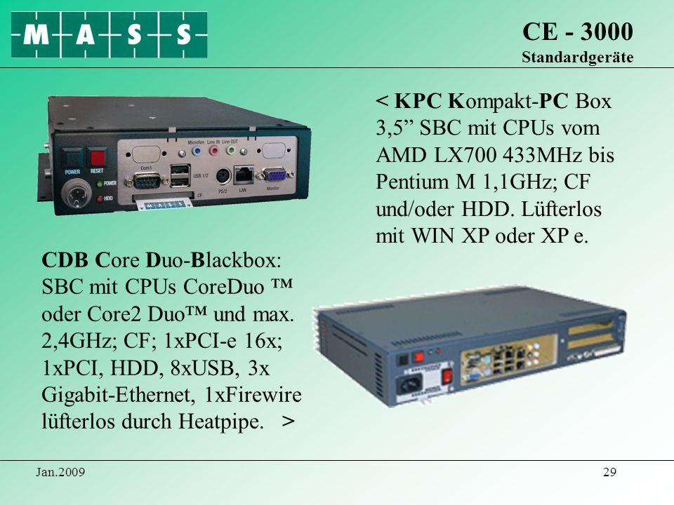Jan.200929 CE - 3000 Standardgeräte < KPC Kompakt-PC Box 3,5 SBC mit CPUs vom AMD LX700 433MHz bis Pentium M 1,1GHz; CF und/oder HDD. Lüfterlos mit WI