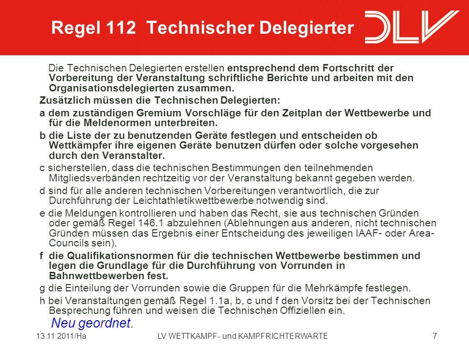 4813.11.2011/HaLV WETTKAMPF- und KAMPFRICHTERWARTE Nationale Bestimmung DLV In den Schüleraltersklassen M/W u.