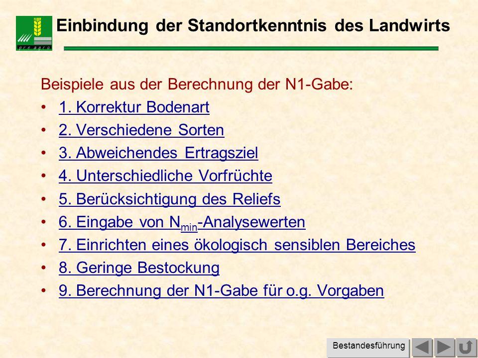 Beispiel 1: Bodenart Korrektur der Reichsbodenschätzung durch den Landwirt: Reichsbodenschätzung z.B.