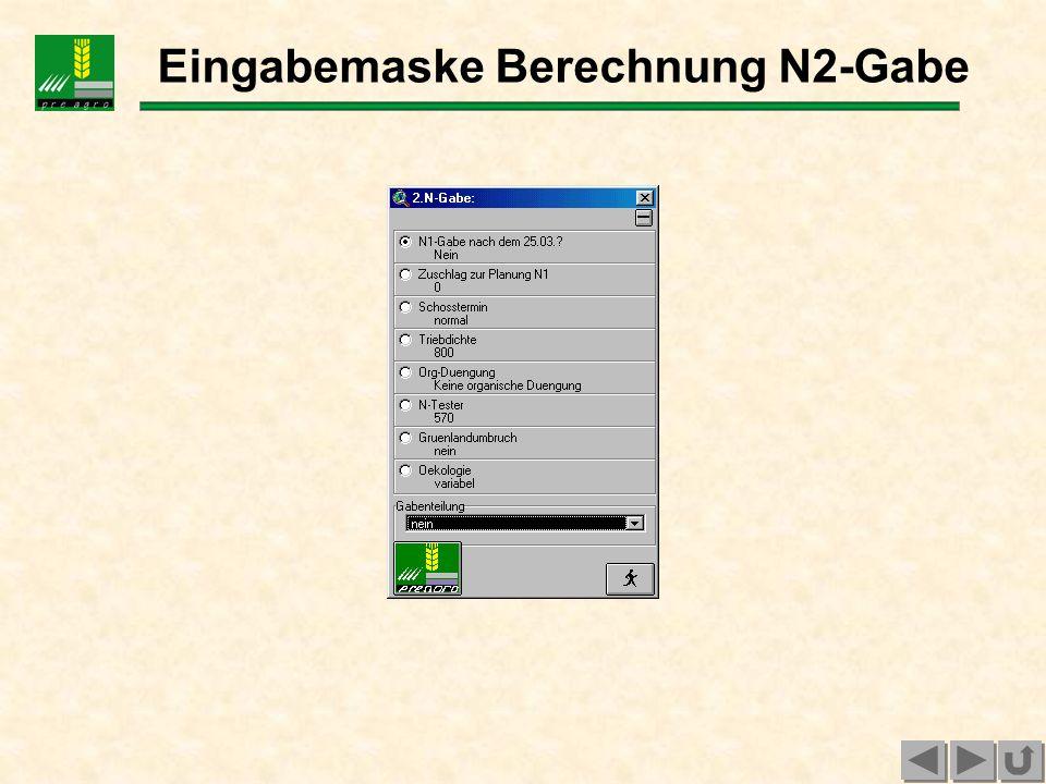 Eingabemaske Berechnung N3-Gabe