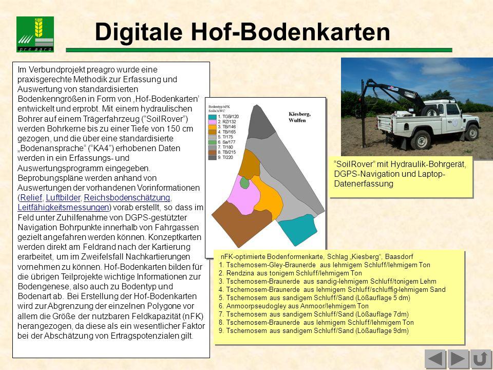 Im Verbundprojekt preagro wurde eine praxisgerechte Methodik zur Erfassung und Auswertung von standardisierten Bodenkenngrößen in Form von Hof-Bodenka