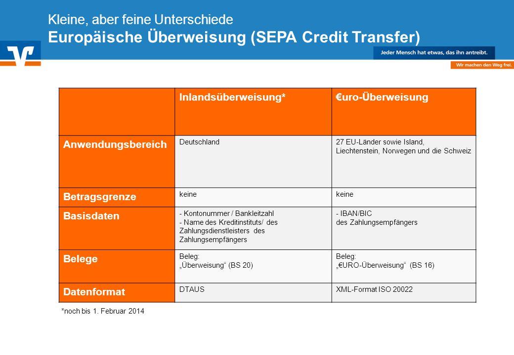 Diagramm Text / Bild BildText Diagramm Ende Diagramm Text / Bild Kleine, aber feine Unterschiede Europäische Überweisung (SEPA Credit Transfer) Inland
