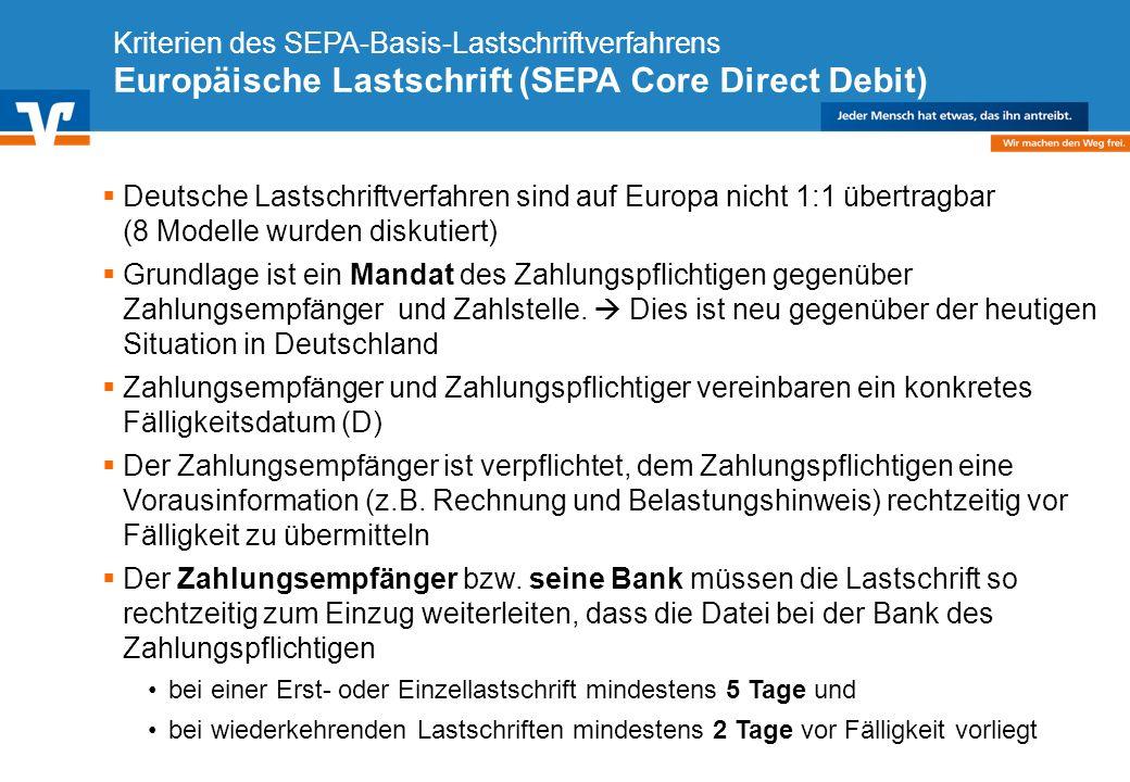 Diagramm Text / Bild BildText Diagramm Ende Diagramm Text / Bild Kriterien des SEPA-Basis-Lastschriftverfahrens Europäische Lastschrift (SEPA Core Dir