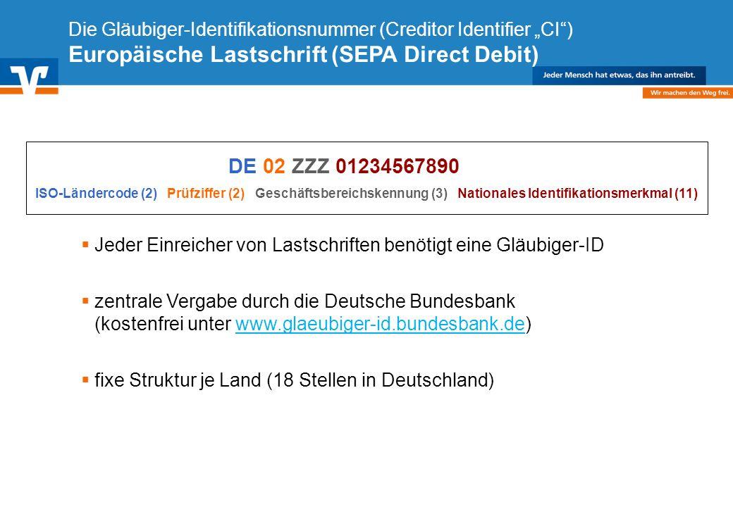 Diagramm Text / Bild BildText Diagramm Ende Diagramm Text / Bild Die Gläubiger-Identifikationsnummer (Creditor Identifier CI) Europäische Lastschrift