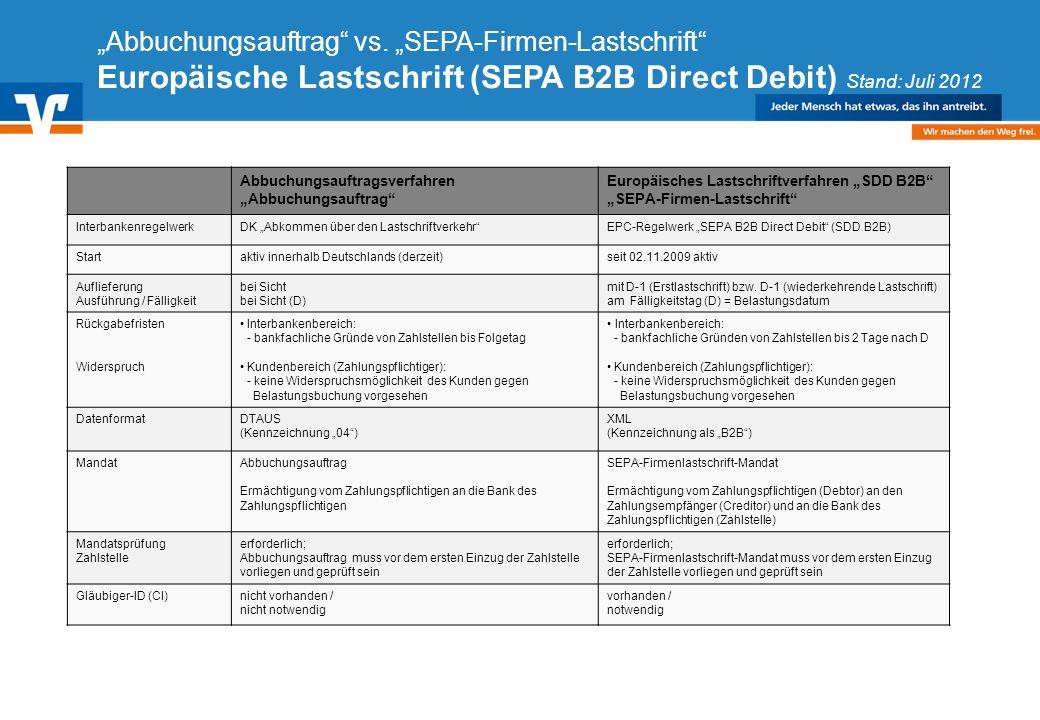 Diagramm Text / Bild BildText Diagramm Ende Diagramm Text / Bild Abbuchungsauftrag vs. SEPA-Firmen-Lastschrift Europäische Lastschrift (SEPA B2B Direc