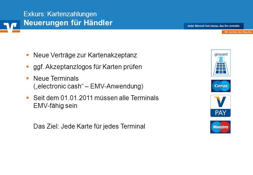Diagramm Text / Bild BildText Diagramm Ende Diagramm Text / Bild Exkurs: Kartenzahlungen Neuerungen für Händler Neue Verträge zur Kartenakzeptanz ggf.