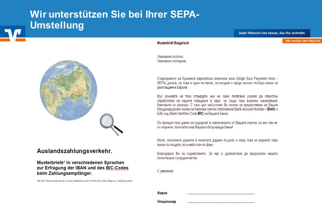 Diagramm Text / Bild BildText Diagramm Ende Diagramm Text / Bild Wir unterstützen Sie bei Ihrer SEPA- Umstellung