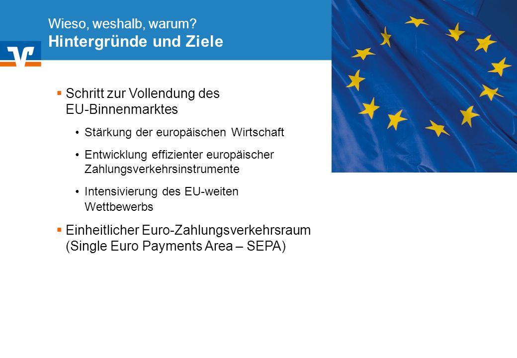 Diagramm Text / Bild BildText Diagramm Ende Diagramm Text / Bild Wieso, weshalb, warum? Hintergründe und Ziele Schritt zur Vollendung des EU-Binnenmar