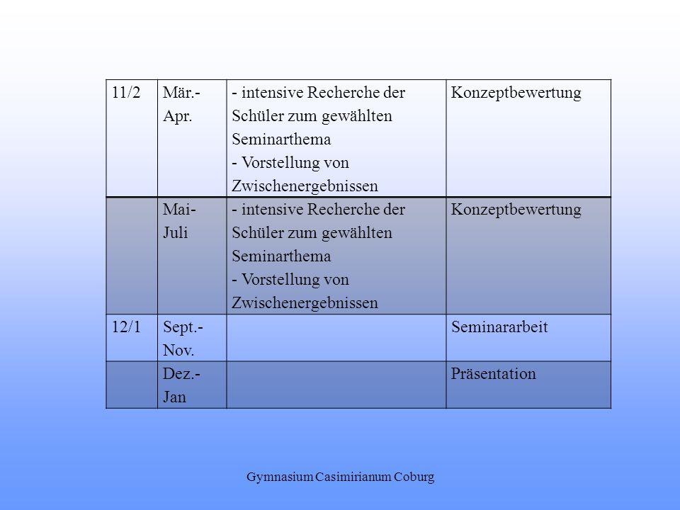 Gymnasium Casimirianum Coburg 11/2 Mär.- Apr. - intensive Recherche der Schüler zum gewählten Seminarthema - Vorstellung von Zwischenergebnissen Konze