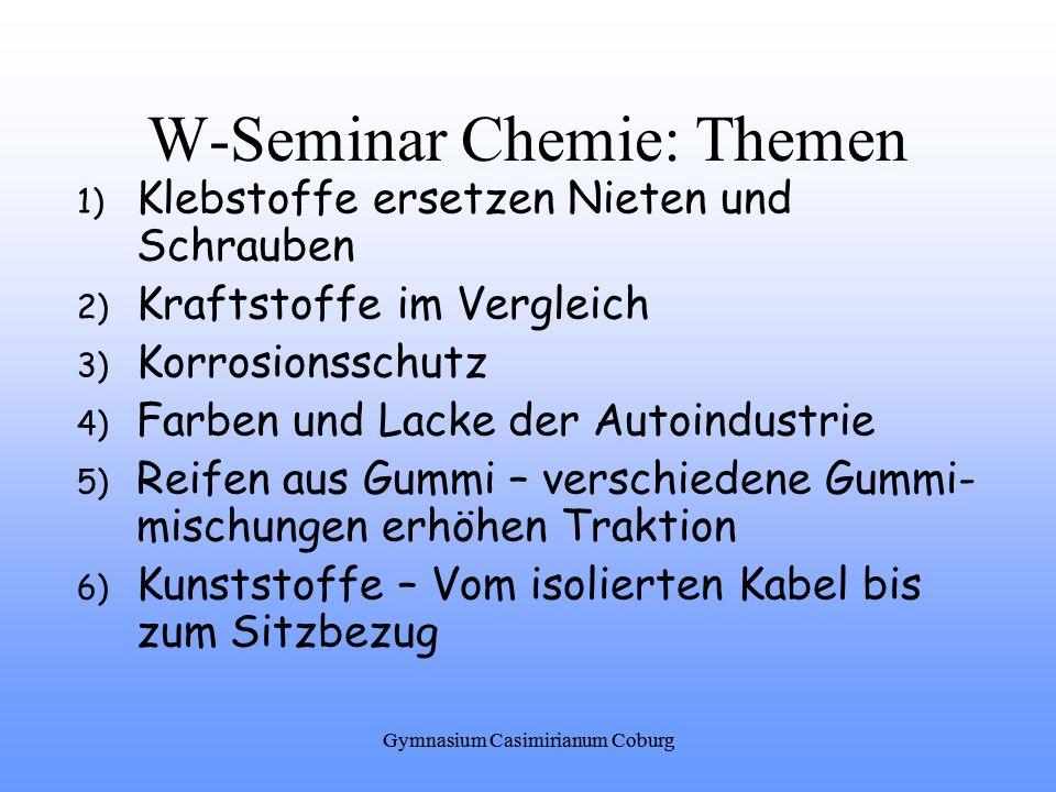 W-Seminar Chemie: Themen 1) Klebstoffe ersetzen Nieten und Schrauben 2) Kraftstoffe im Vergleich 3) Korrosionsschutz 4) Farben und Lacke der Autoindus