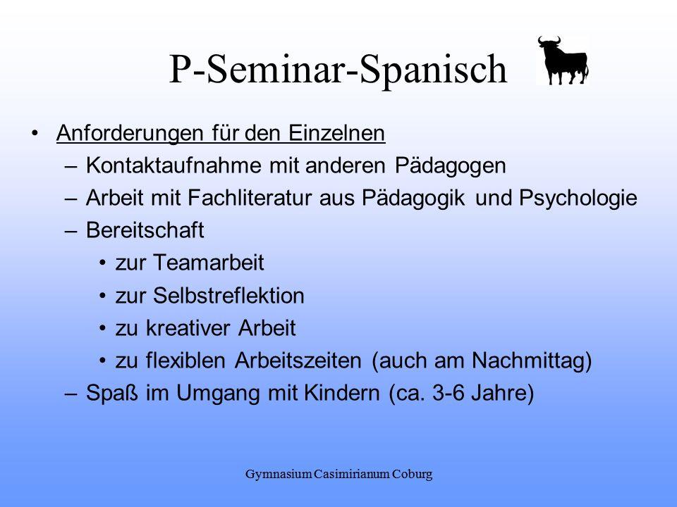 Gymnasium Casimirianum Coburg P-Seminar-Spanisch Anforderungen für den Einzelnen –Kontaktaufnahme mit anderen Pädagogen –Arbeit mit Fachliteratur aus