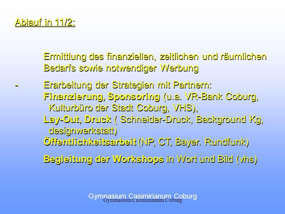 Ablauf in 11/2: Ermittlung des finanziellen, zeitlichen und räumlichen Bedarfs sowie notwendiger Werbung -Erarbeitung der Strategien mit Partnern: Fin