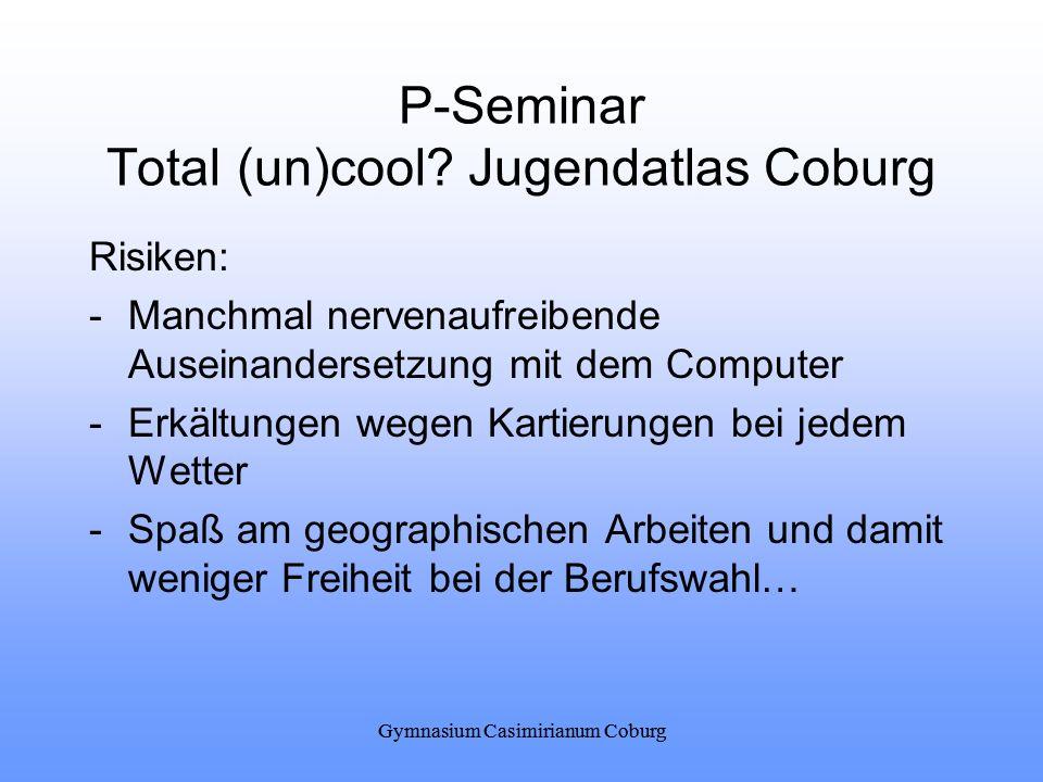 Gymnasium Casimirianum Coburg P-Seminar Total (un)cool? Jugendatlas Coburg Risiken: -Manchmal nervenaufreibende Auseinandersetzung mit dem Computer -E