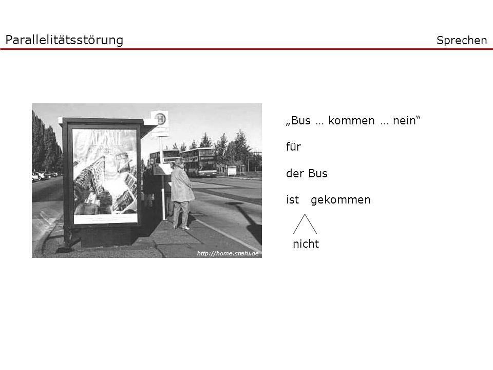 Bus … kommen … nein für der Bus ist gekommen nicht Parallelitätsstörung Sprechen http://home.snafu.de