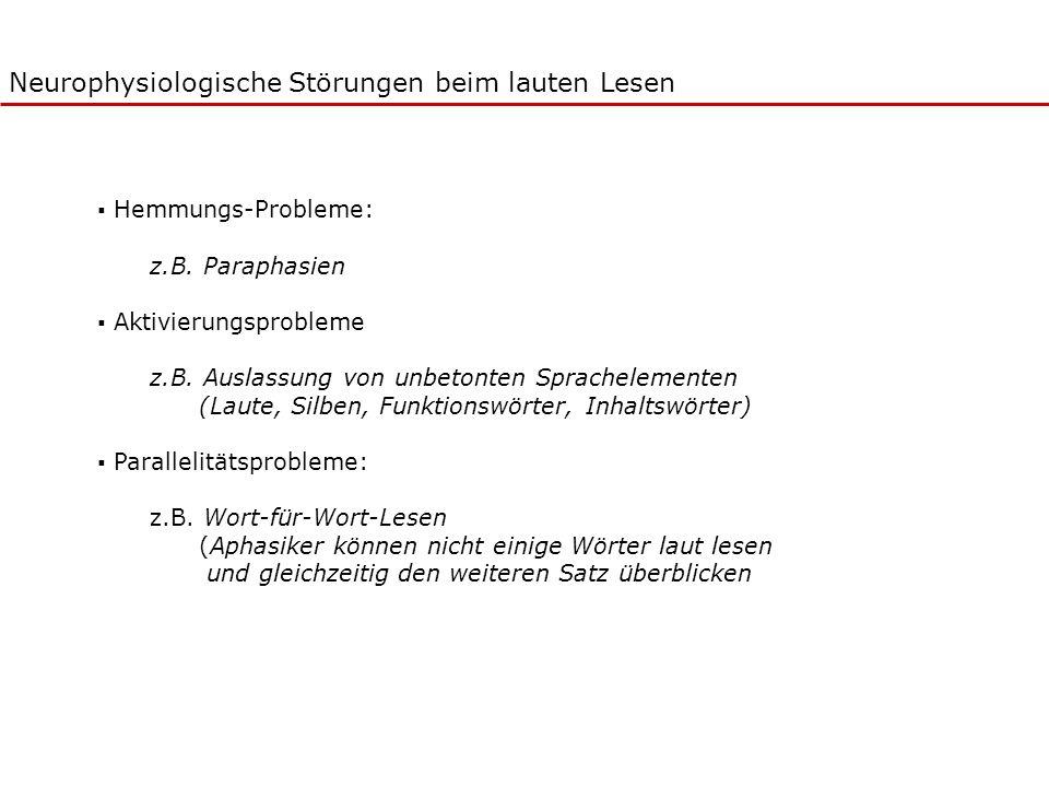 Neurophysiologische Störungen beim lauten Lesen Hemmungs-Probleme: z.B. Paraphasien Aktivierungsprobleme z.B. Auslassung von unbetonten Sprachelemente