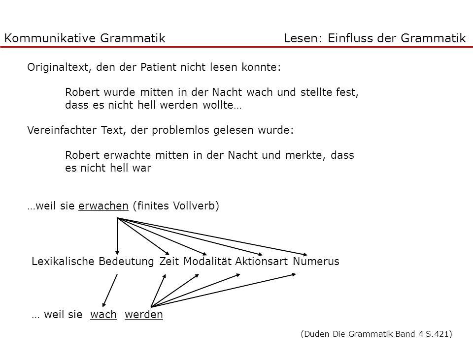 Kommunikative Grammatik Lesen: Einfluss der Grammatik Originaltext, den der Patient nicht lesen konnte: Robert wurde mitten in der Nacht wach und stel