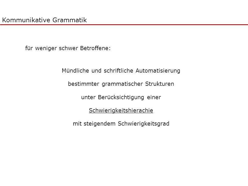 Kommunikative Grammatik Mündliche und schriftliche Automatisierung bestimmter grammatischer Strukturen unter Berücksichtigung einer Schwierigkeitshier