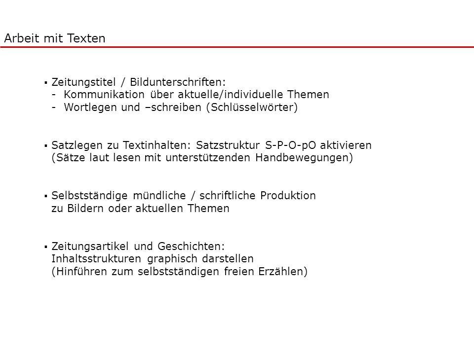 Zeitungstitel / Bildunterschriften: - Kommunikation über aktuelle/individuelle Themen - Wortlegen und –schreiben (Schlüsselwörter) Satzlegen zu Textin