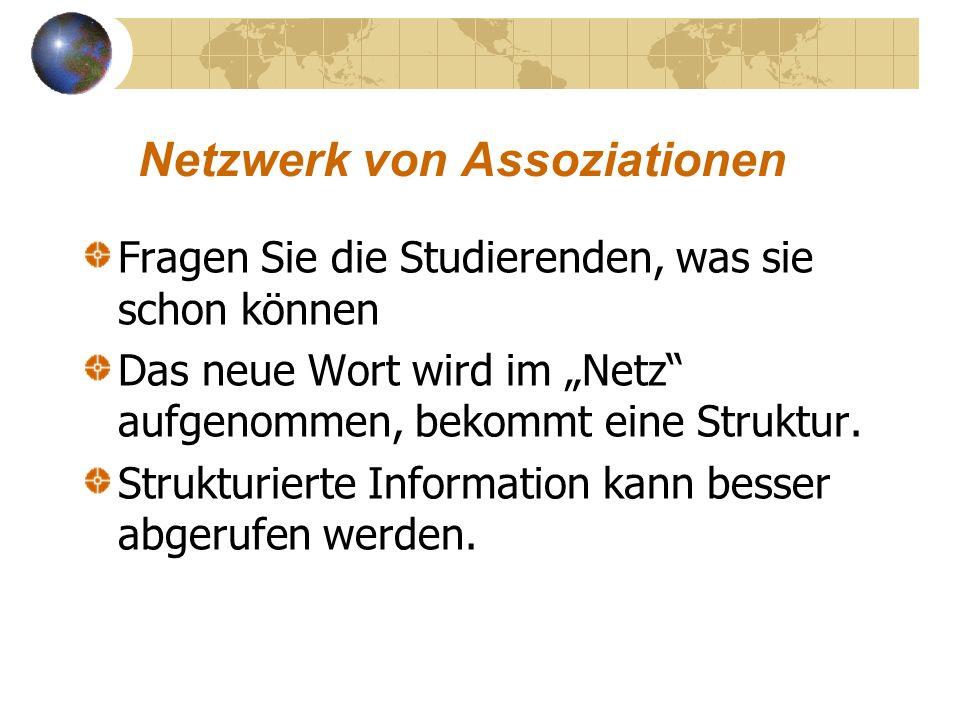Netzwerk von Assoziationen Fragen Sie die Studierenden, was sie schon können Das neue Wort wird im Netz aufgenommen, bekommt eine Struktur. Strukturie