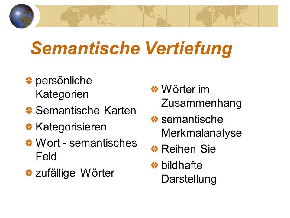 Semantische Vertiefung persönliche Kategorien Semantische Karten Kategorisieren Wort - semantisches Feld zufällige Wörter im Zusammenhang semantische