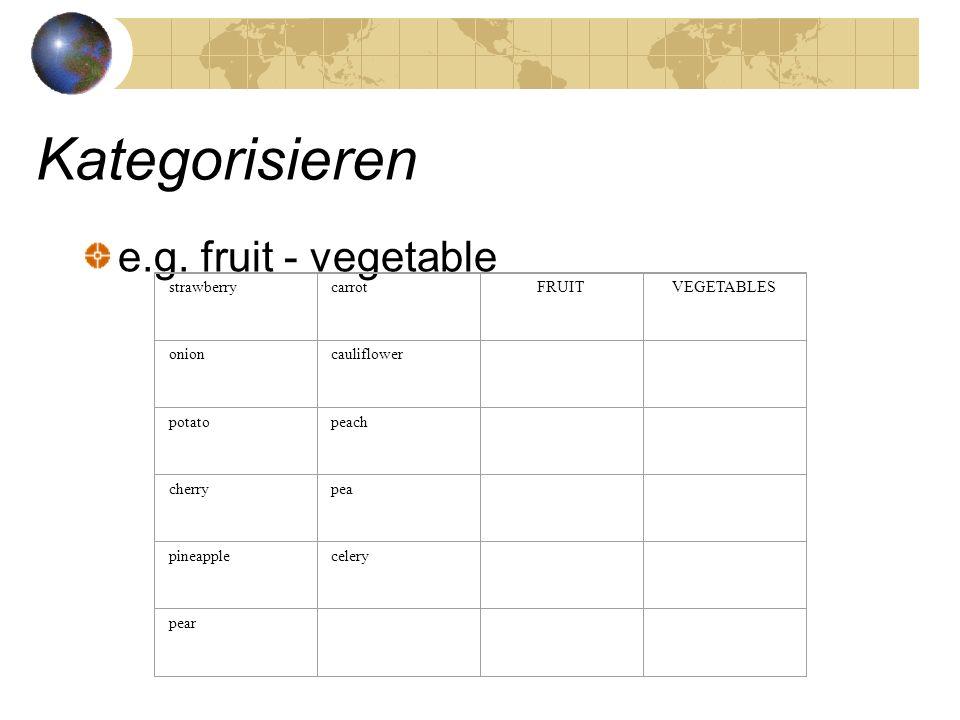 Kategorisieren e.g. fruit - vegetable strawberrycarrotFRUITVEGETABLES onioncauliflower potatopeach cherrypea pineapplecelery pear