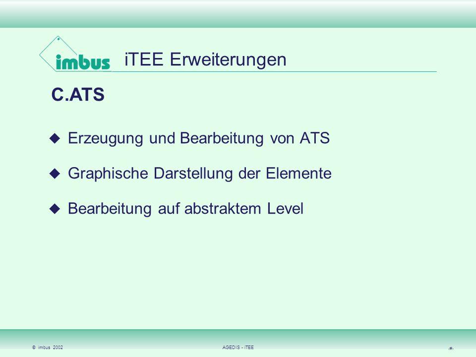 © imbus 2002AGEDIS - iTEE 14 iTEE Erweiterungen Poseidon Modellierung von Testfällen mit UML (Sequenzdiagrammen) Übersetzung in ATS Keine Rückübersetzung der ATS