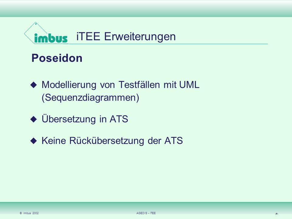 © imbus 2002AGEDIS - iTEE 15 iTEE Erweiterungen AGEDIS-Toolkette Modellierung von Testszenarien mit AML (AGEDIS UML) Erzeugen von Testfällen mit dem Generator Möglichkeit, sehr komplexe und umfangreiche Tests durchzuführen