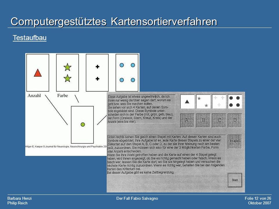 Barbara Henzi Philip Reich Folie 12 von 26 Oktober 2007 Der Fall Fabio Salvagno Computergestütztes Kartensortierverfahren Testaufbau