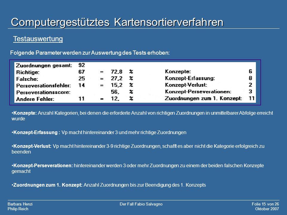 Barbara Henzi Philip Reich Folie 15 von 26 Oktober 2007 Der Fall Fabio Salvagno Computergestütztes Kartensortierverfahren Folgende Parameter werden zu