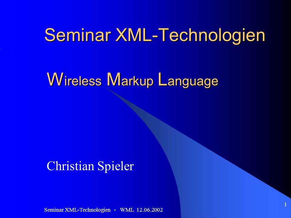Seminar XML-Technologien - WML 12.06.2002 1 Seminar XML-Technologien W ireless M arkup L anguage Christian Spieler