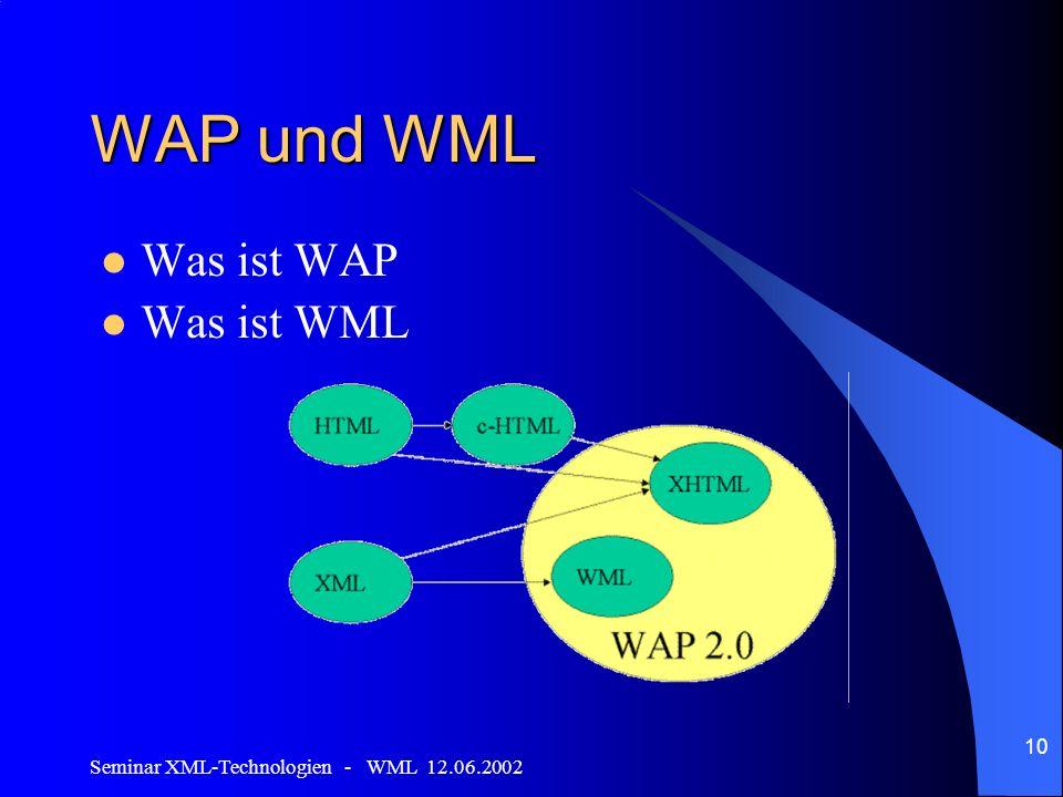 Seminar XML-Technologien - WML 12.06.2002 10 WAP und WML Was ist WAP Was ist WML