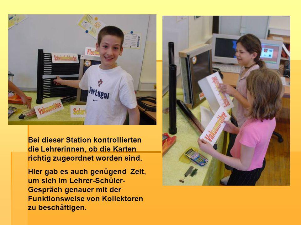 Bei dieser Station kontrollierten die Lehrerinnen, ob die Karten richtig zugeordnet worden sind.