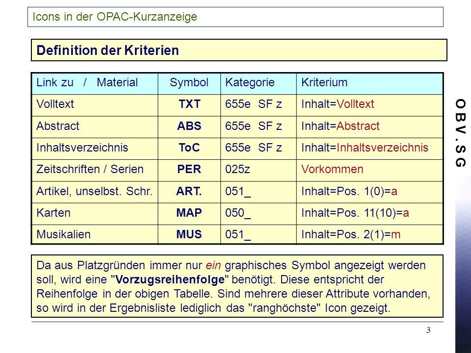 O B V. S G 3 Icons in der OPAC-Kurzanzeige Link zu / MaterialSymbolKategorieKriterium VolltextTXT655e SF zInhalt=Volltext AbstractABS655e SF zInhalt=A