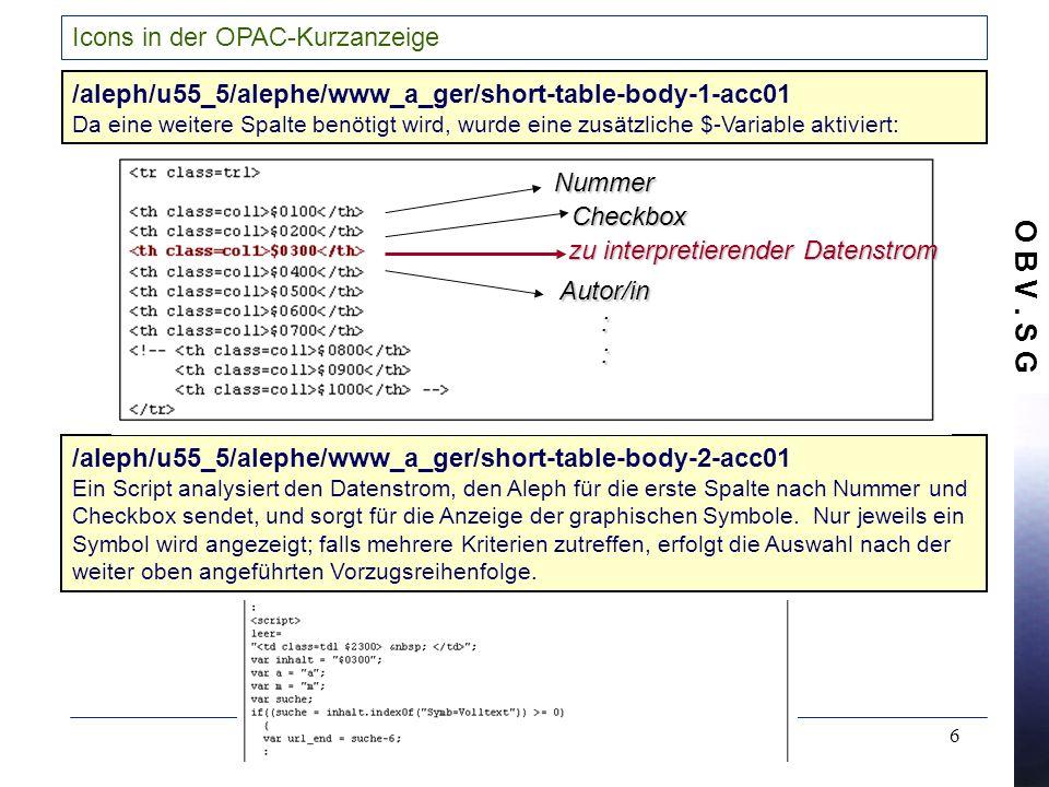 O B V. S G 6 Icons in der OPAC-Kurzanzeige /aleph/u55_5/alephe/www_a_ger/short-table-body-2-acc01 Ein Script analysiert den Datenstrom, den Aleph für