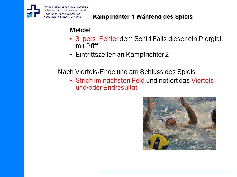 Member of Swiss Olympic Association Schweizerischer Schwimmverband Fédération Suisse de natation Federazione Svizzera di Nuoto Kampfrichter 1 Während des Spiels Meldet : 3.