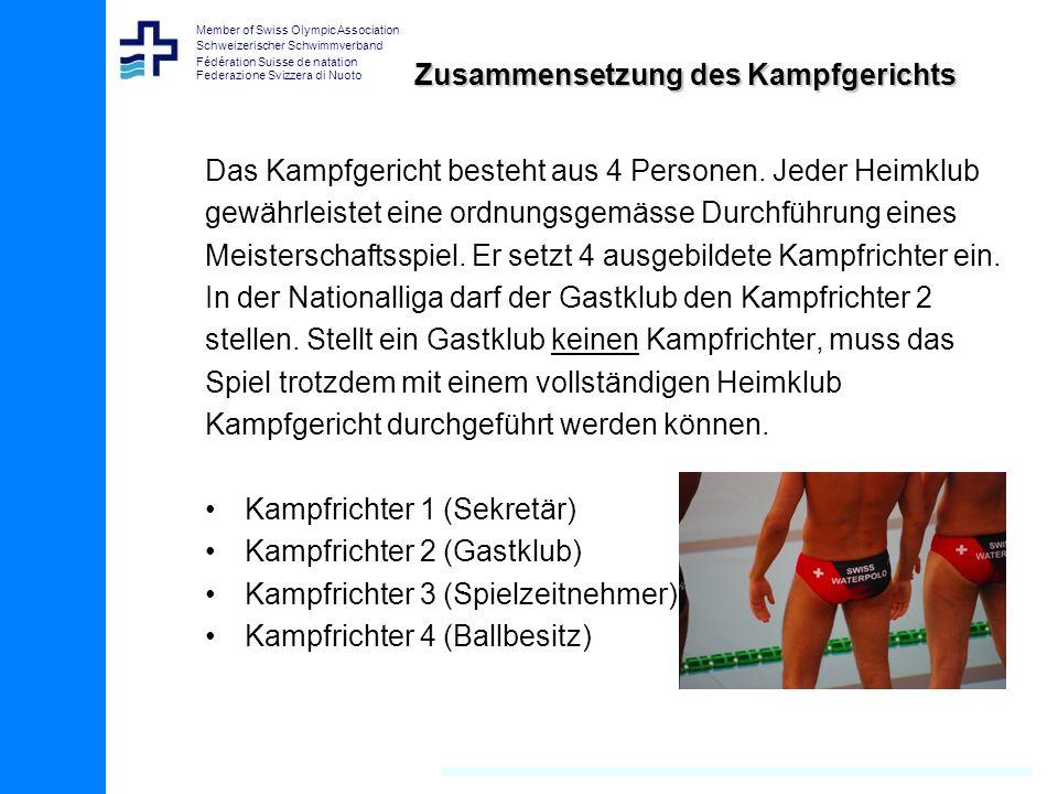 Member of Swiss Olympic Association Schweizerischer Schwimmverband Fédération Suisse de natation Federazione Svizzera di Nuoto Zusammensetzung des Kampfgerichts Das Kampfgericht besteht aus 4 Personen.
