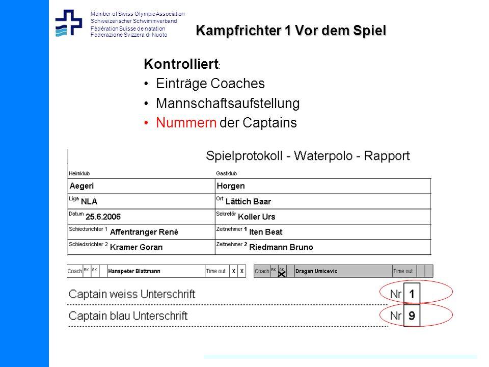Member of Swiss Olympic Association Schweizerischer Schwimmverband Fédération Suisse de natation Federazione Svizzera di Nuoto Kampfrichter 1 Vor dem Spiel Kontrolliert : Einträge Coaches Mannschaftsaufstellung Nummern der Captains