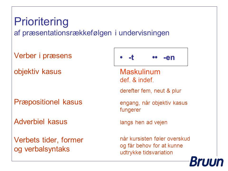Prioritering af præsentationsrækkefølgen i undervisningen Verber i præsens objektiv kasus Præpositionel kasus Adverbiel kasus Verbets tider, former og