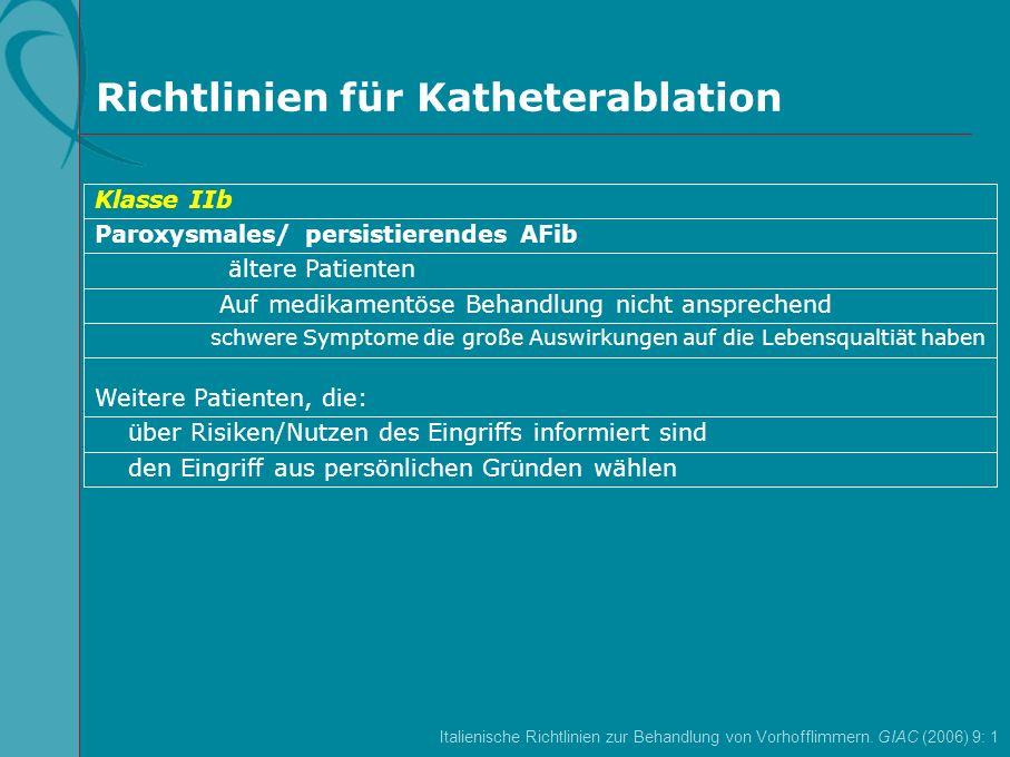 Richtlinien für Katheterablation den Eingriff aus persönlichen Gründen wählen über Risiken/Nutzen des Eingriffs informiert sind Weitere Patienten, die