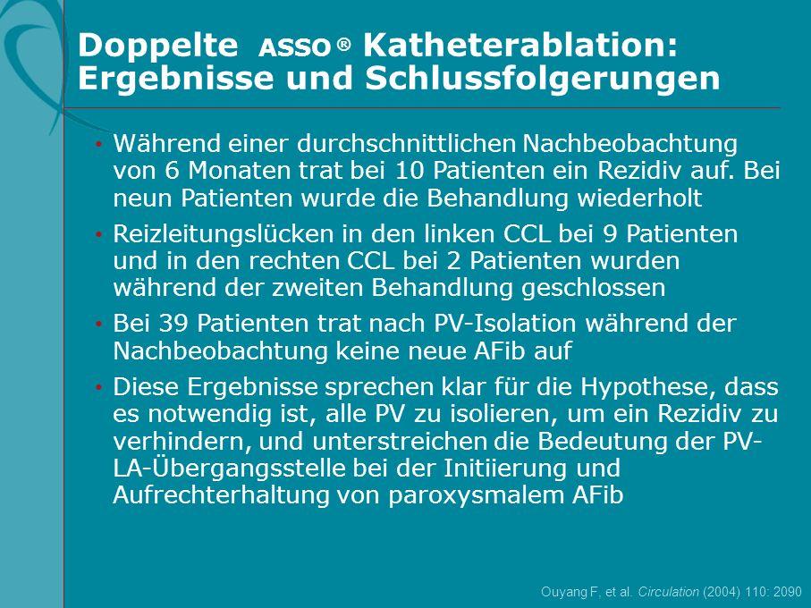 Doppelte ASSO ® Katheterablation: Ergebnisse und Schlussfolgerungen Während einer durchschnittlichen Nachbeobachtung von 6 Monaten trat bei 10 Patient