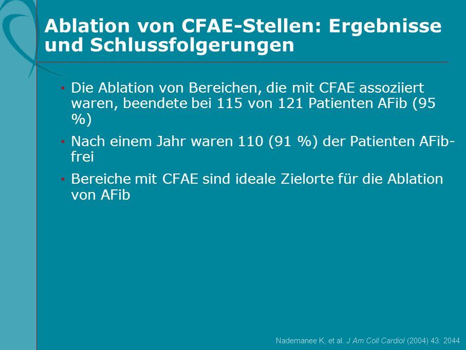 Ablation von CFAE-Stellen: Ergebnisse und Schlussfolgerungen Nademanee K, et al. J Am Coll Cardiol (2004) 43: 2044 Die Ablation von Bereichen, die mit